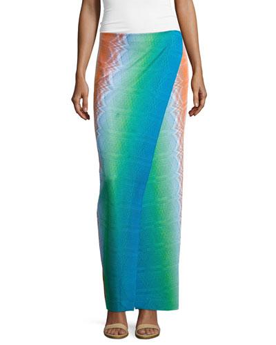 Raschel Stereo Wrap Maxi Skirt, Pink