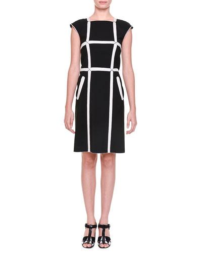 Windowpane Wool-Blend Cap-Sleeve Sheath Dress
