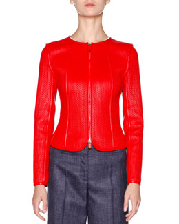 Bonded Napa Leather Jacket, Coral Red
