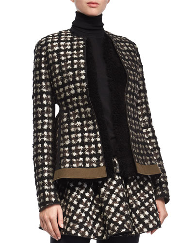 Plaid Tweed Open Jacket