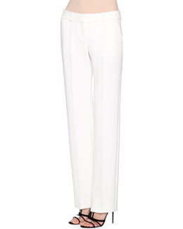 Stretch-Wool Trousers, Cream