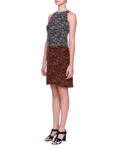 Bicolor Jacquard Sheath Dress