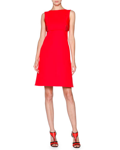 Sleeveless Cotton Overlay Dress, Coral Red