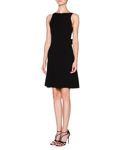 Silk Cady Bow-Back Dress, Black