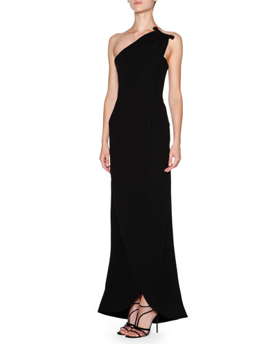 Silk Cady One-Shoulder Gown, Black