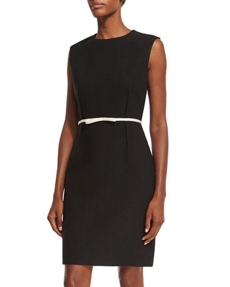 Sleeveless Crepe Shift Dress w/Contrast Bow Belt, Black