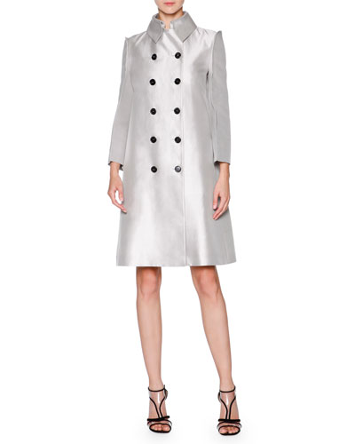 Reversible Silk-Blend A-Line Coat, Silver/Gray
