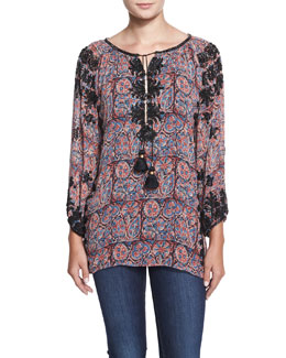 Beaded Paisley-Print Tassel Tunic, Purple Floral