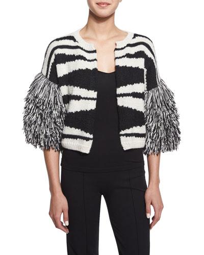Striped Knit Fringe-Sleeve Sweater, Black