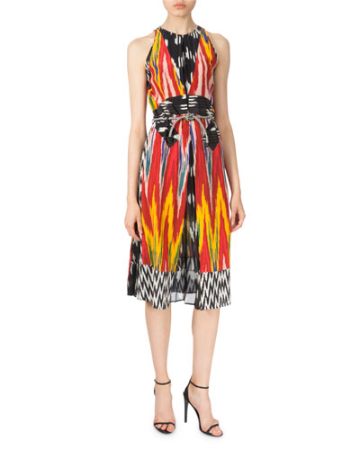Ikat-Print Silk-Crepe de Chine Dress, Red