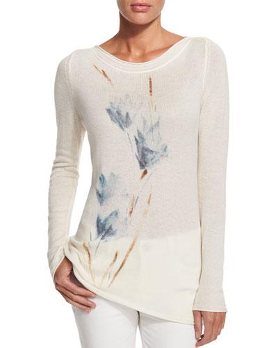 Tulip-Print Cashmere Sweater
