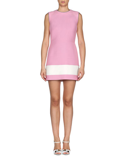 Sleeveless Colorblock Gazar Dress, Marshmallow White