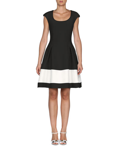 Cap-Sleeve Colorblock Gazar Dress