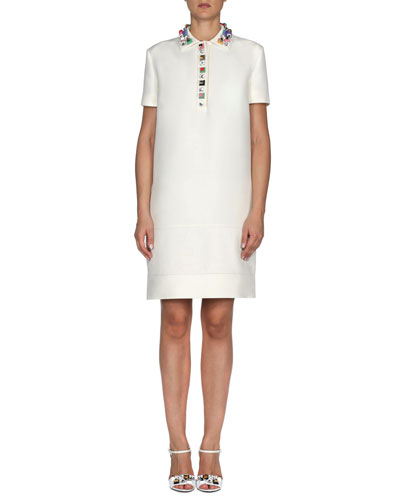 Jewel-Collar Gazar Polo Dress, White