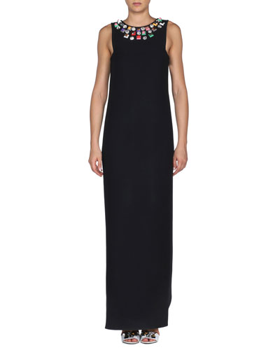 Jeweled-Neck Sleeveless Gazar Column Gown