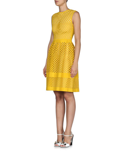 Open Lattice-Knit A-Line Dress, Yolk Yellow