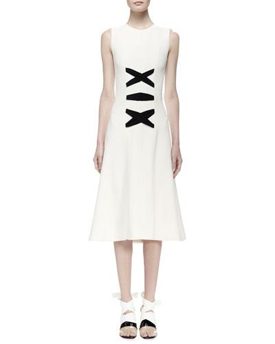 Sleeveless A-Line Dress w/Contrast Lacing