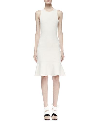 Sleeveless Knit Flounce-Hem Dress, Ivory