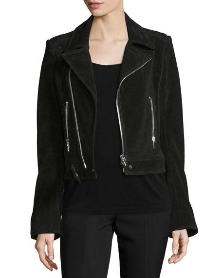 Classic Suede Moto Jacket, Black (Noir)