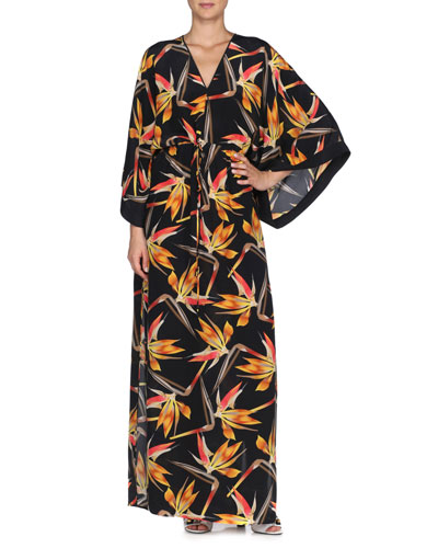 Bird of Paradise-Print Silk Caftan, Black
