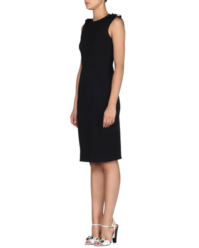 Bow-Shoulder Wool-Blend Sheath Dress
