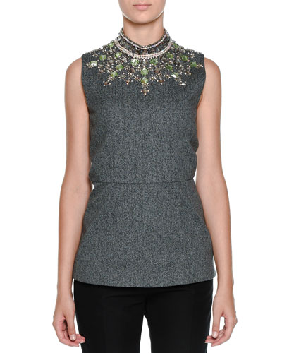 Crystal-Embellished Mock-Neck Top, Dark Anthracite