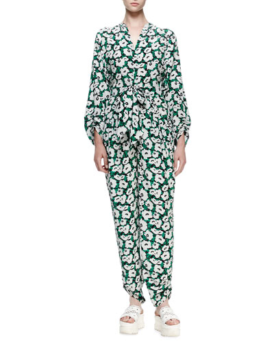 Long-Sleeve Floral Tie-Waist Silk Jumpsuit