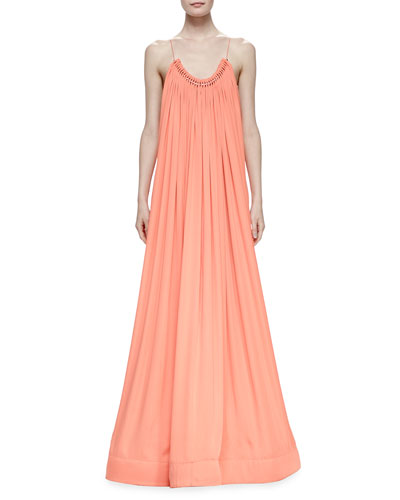 Gathered Scoop-Neckline Silk Trapeze Gown, Peony