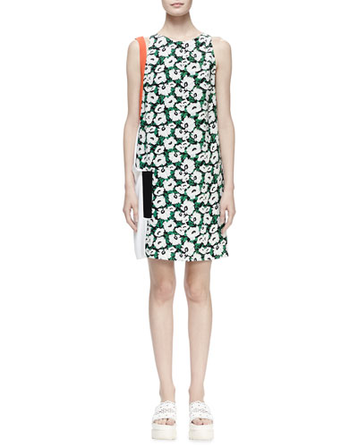 Floral-Print Colorblock Shift Dress