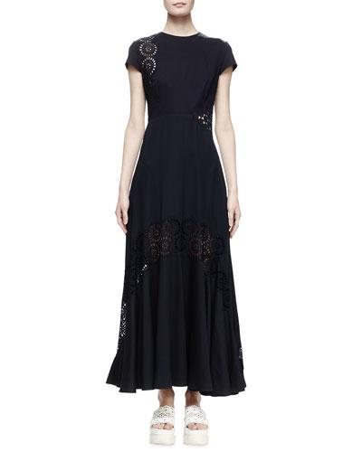 Short-Sleeve Eyelet Maxi Dress, Midnight