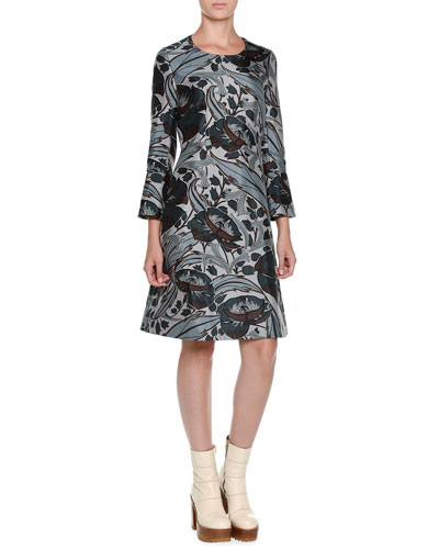 Bracelet-Sleeve Floral-Print Dress, Black
