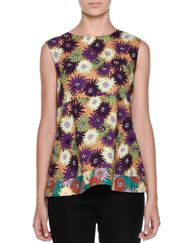 Floral-Print Empire-Waist Top, Curry