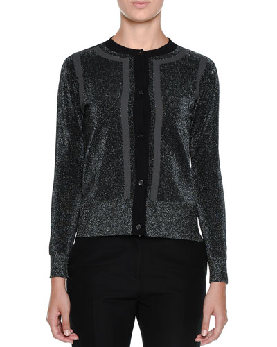 Metallic-Knit Long-Sleeve Cardigan Sweater, Black