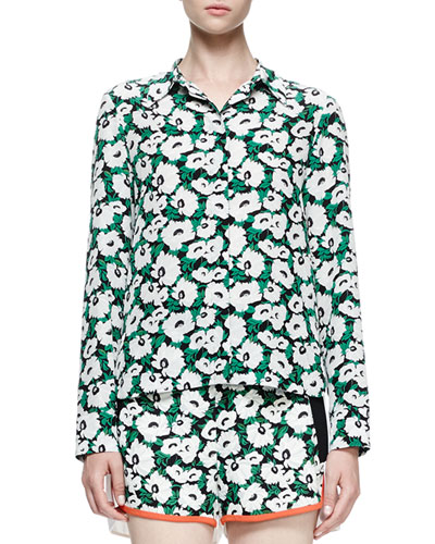 Damien Floral Silk Button-Down Shirt