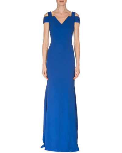 Capsule Collection Cold-Shoulder Fluted Gown, Royal