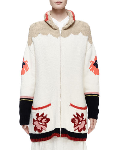 Horse-Print Intarsia Cardigan Sweater, Multi Colors