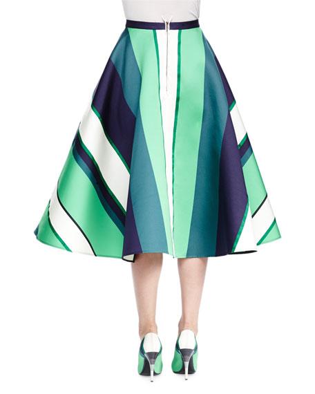 Striped Satin A-Line Midi Skirt