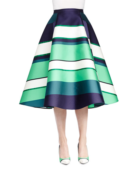 lanvin striped satin a line midi skirt