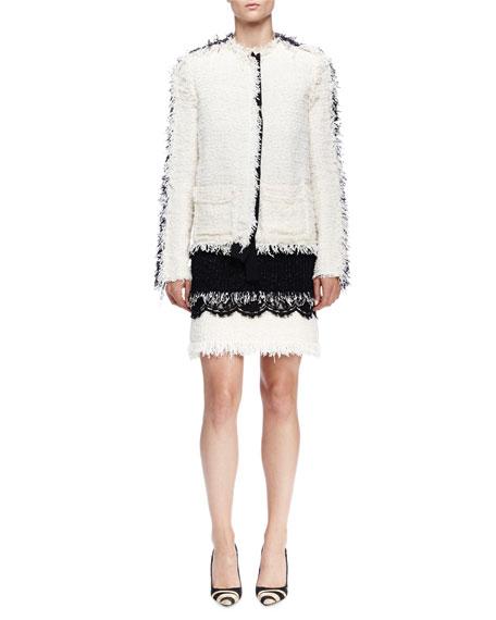 Contrast-Inset Fringe Tweed Jacket