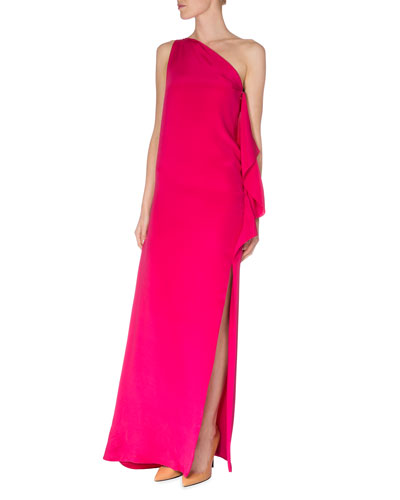 Silk Marocain One-Shoulder Gown, Magenta