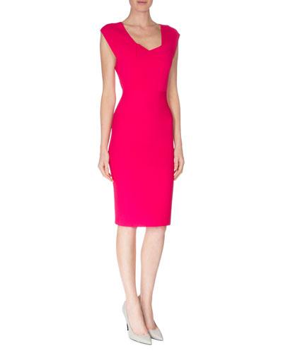 Open-Back Crepe Sheath Dress, Magenta