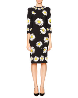 Daisy-Print Cady Pencil Dress, Black
