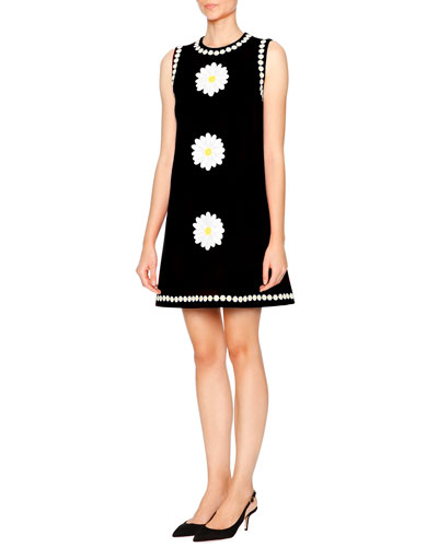 Sleeveless Daisy Wool-Crepe Shift Dress, Black