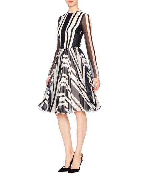Nautical Striped Long-Sleeve Silk Party Dress, Navy/White