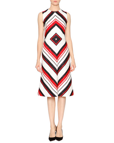 Sleeveless Geometric-Print Dress, Red/White/Black