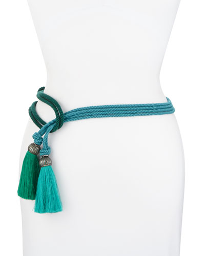 Bicolor Tassel Rope Belt, Green/Blue