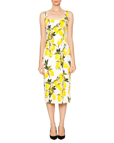 Lemon-Print Sweetheart-Neck Dress, White/Yellow