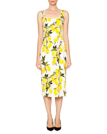 Print Whiteyellow Sweetheart Lemon Dress Neck lF1J3KTc