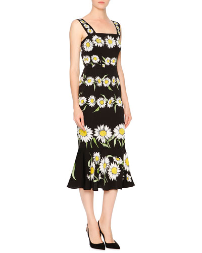 Daisy-Print Flounce-Hem Dress, Black
