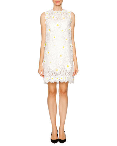Daisy-Embroidered Lace Shift Dress, White